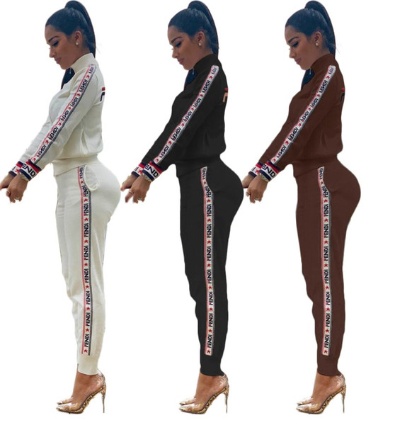 top popular womens hoodie legging two piece set outfits long sleeve tracksuit jacket pants sportswear panelled outerwear tights sports set hot klw0851 2019