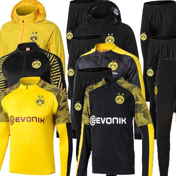 2019 2020 Borussia Dortmund conjunto de chaqueta de chándal Hombres Kit de manga larga Traje de entrenamiento pantalones de fútbol Borussia Reus ropa deportiva