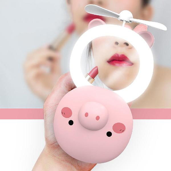 Carino Pig Beauty Mirror portatile Pocket Fan USB di ricarica Mini ventilatore palmare con specchio per il trucco LED piccolo ventilatore per i regali di viaggio