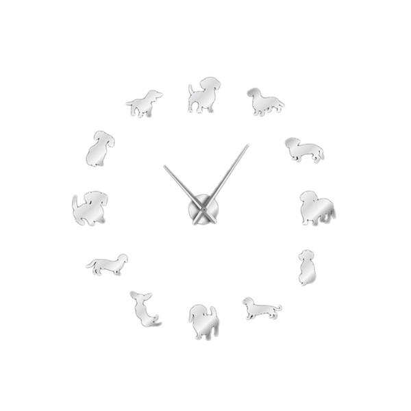 Bricolage Teckel Art mural Wiener-Chien Chiot Chien Animaux Horloge murale géante sans cadre avec effet de miroir Saucisse Chien Grande Horloge Wat