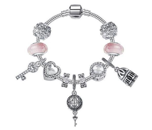 Fashion 925 Sterling Silver Pink Murano Glass Lampwork European Charm Bead Vintage Love Key Dangle Fits Pandora Charm Bracelets Necklace