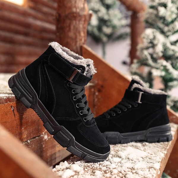 Winter High Shoes Men'S Boots With Sneakers Fur Warm Fleece Snow Boots Flat Casual Cotton Shoes Strong Wear Resistant Anti Slip Green Shoes Most