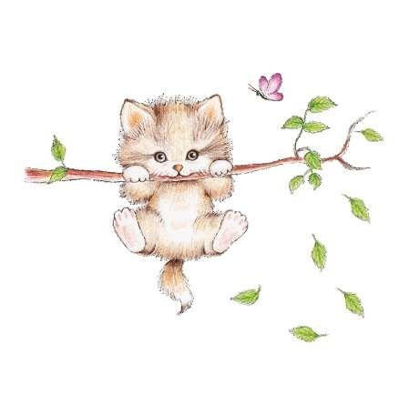 Lovely Cat hanging branches butterfly wall stickers for kids room Children Bedroom cute Animals Wall Decals Nursery Decor Mural