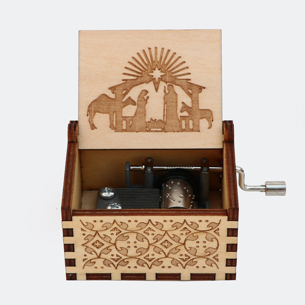 top popular Wooden Carved Music Box,Delicate gift. 2021