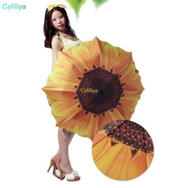 Venta al por mayor 10 unids moda girasol patrón tres paraguas plegable mujeres hombres sol / lluvia grandes sombrillas de playa sombrilla