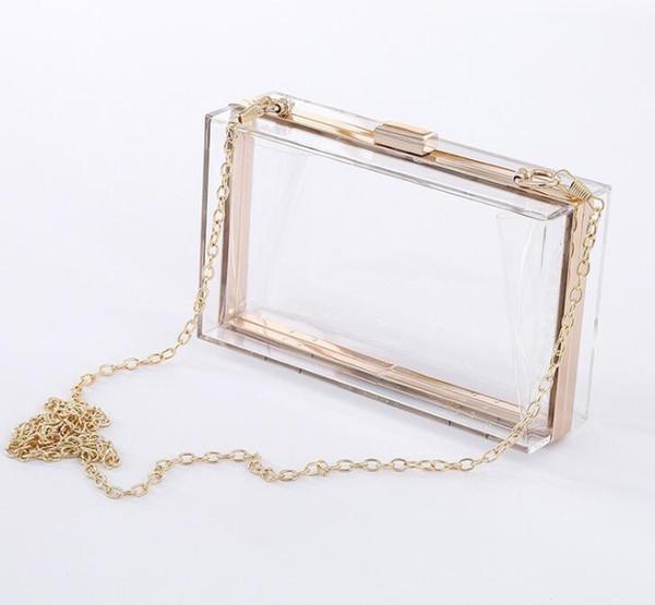 10 PCS Transparent Acrylique sac bling Chaîne Boîte Sac clear crossbody sacs embrayage pour femmes soirée soirée