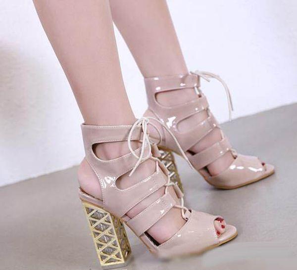 ViVi lena white lace up thick high heels women designer sandals ladies slides fashion luxury designer women shoes size 34 To 40