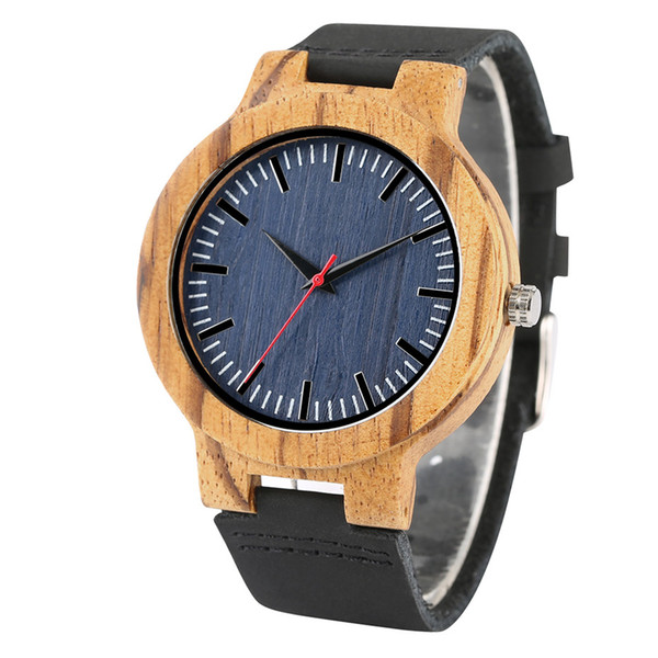 Blue Dial Nature Wood Wrist Watch Quartz Clock Creative Blue Dial Nature Wood Wrist Watch Men Quartz Clock Creative Men's
