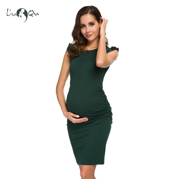 Compre Vestidos De Maternidad Con Pliegues En El Lado Del Volante Negro Elegante Baby Shower Vestido Ajustado Mama Vestidos De Verano Vestidos De