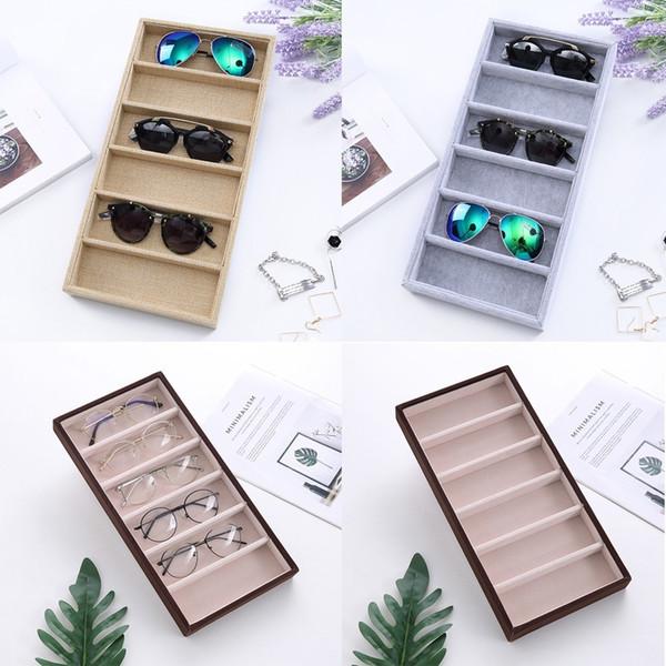Sunglasses Storage Box Organizer 6 Checks Eyewear Display Case Collector Beige Gray