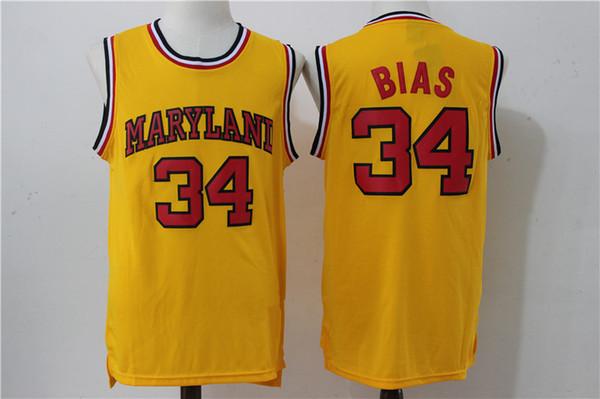 NCAA # 34 Leonard Bias erkek Maryland Terrapins Koleji Basketbol forması Beyaz Kırmızı Sarı işlemeli Dikişli logolar Spor gömlek