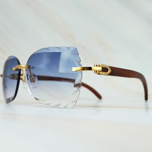 Rimless Sunglass 3mm Thick Gradient Blue Lens Square Brand Name Sunglasses Wholesale Maroon Wood Sun Glass Wooden Shade