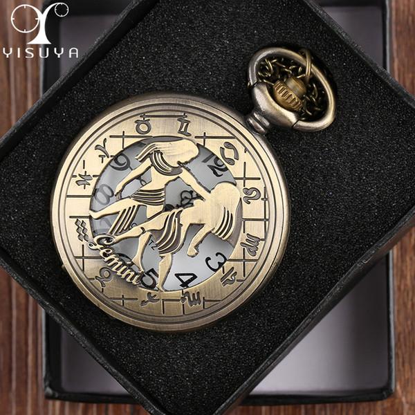 680c0f554cc1 Reloj de bolsillo unisex Zodiac Gemini Steampunk analógico movimiento de  cuarzo Caja de metal Relojes Collar