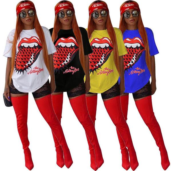2019New личности печать мода рубашка с круглым вырезом свободного покроя t-рубашки большие размер дамы короткие-рукавами t-рубашка бесплатная доставка