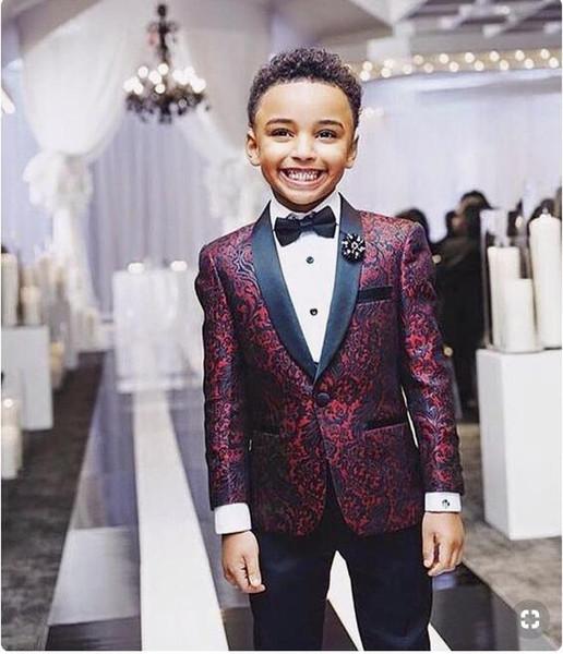 Borgogna Camo Boy Abbigliamento formale Abiti Gilet Scialle Nero Con cravatta Glen Plaid Groom Boy Wedding Tuxedo Cheap Satin Custom Formal Wedding Gilet