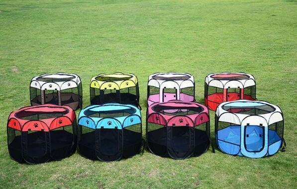 HOT Portable Folding Pet Tent Dog House Cage Dog Cat Tent Playpen Puppy Kennel Easy Operation Octagonal Fence Outdoor Supplies Top Quality