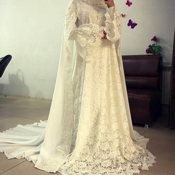 Modest Muslim Lace Chiffon Evening Formal Dresses Long Train Ivory Long Bell Sleeves High Neck Middle East Dubai Arabic Prom Party Gowns