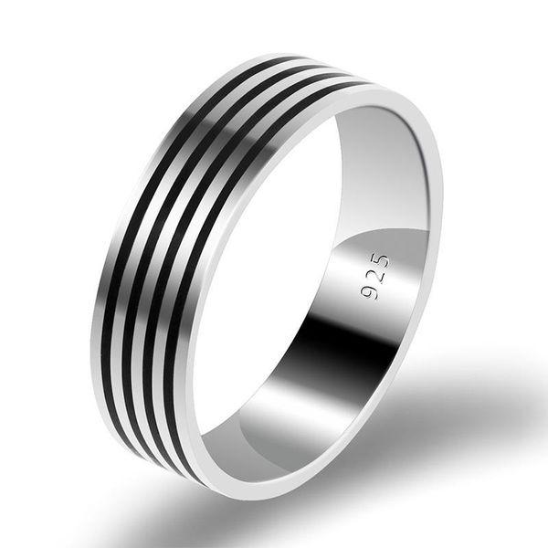Çift Erkekler Kadınlar Güzel Takı Parti Hediyeler için Aşıklar Siyah Çizgili Alyans Yüzük için 925 Gümüş Çift yüzükleri