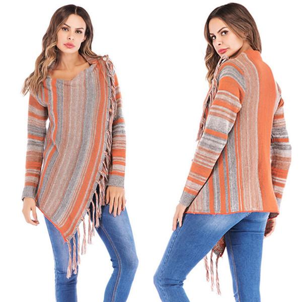 Nueva Moda de Alta Calidad de Las Mujeres Rayas Poncho Otoño Borlas Slash Gradient Shawl Hem Fringe Suelta Suéter Envío de la gota