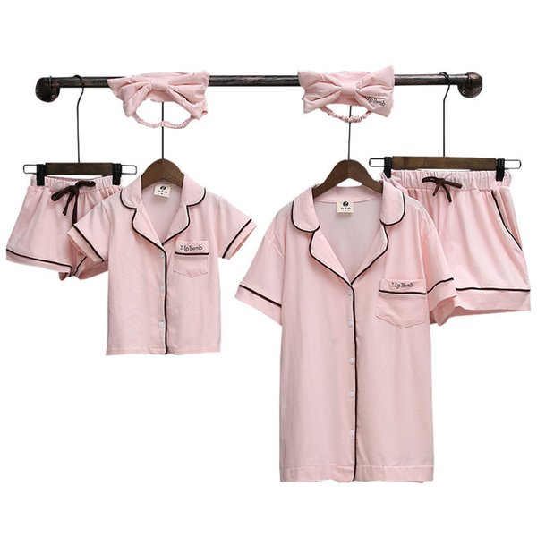Family Matching Pyjamas Summer Look Mom And Daughter Dresses Two Pieces Shirts+shorts Mama Mother Daughter Son Pajamas Clothes Y190523