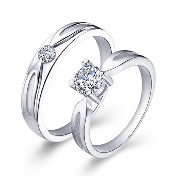 Anéis de casamento para As Mulheres Ornamentação Masculina Imitação de Diamante Jóias Venda Anel de Amor Set Anel de Prata Moda J041