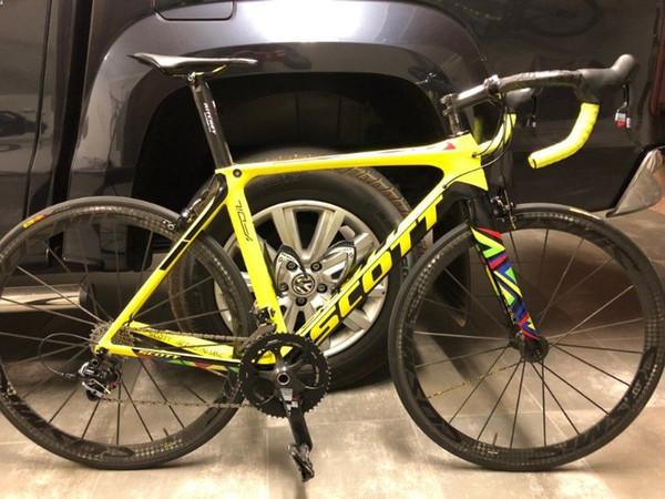 Foil Olympics Rioedition Amarillo UD Carbon Road completo Bicicleta Bicicleta Ruedas Cosmic Carbon UD Manillar brillante