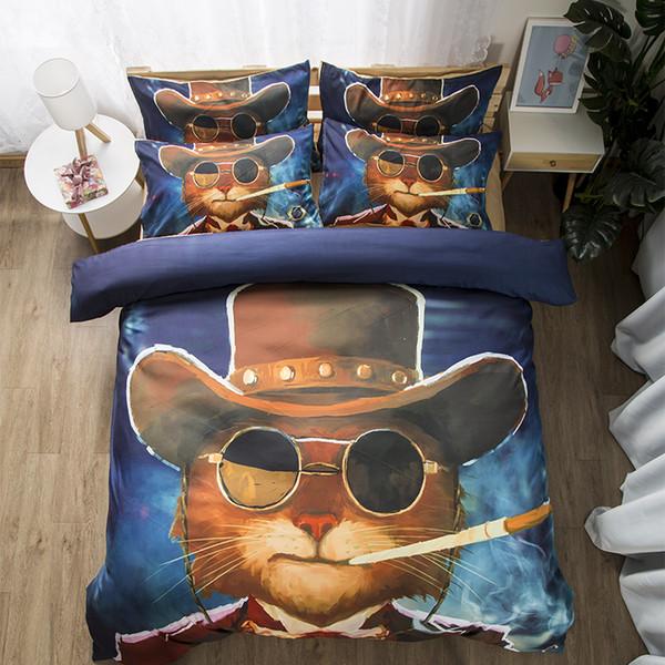 Free shipping Gift Funny Cool Smoking Cat Pattern Man Boy's Bedding Set Duvet Cover Set pillowcase Twin full Queen King size