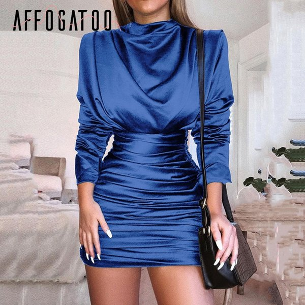 Affogatoo Vintage sexy ruched bodycon dress women Party night club long sleeve dress Satin mock neck slim mini plus size