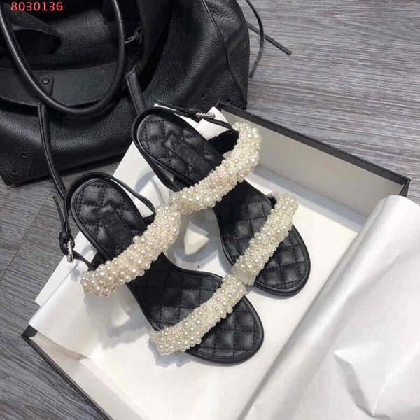 New summer high heel pearlsAristocratic elegancesandals Suola in cuoio con perline con perline con sandali donna alti 8,5 cm