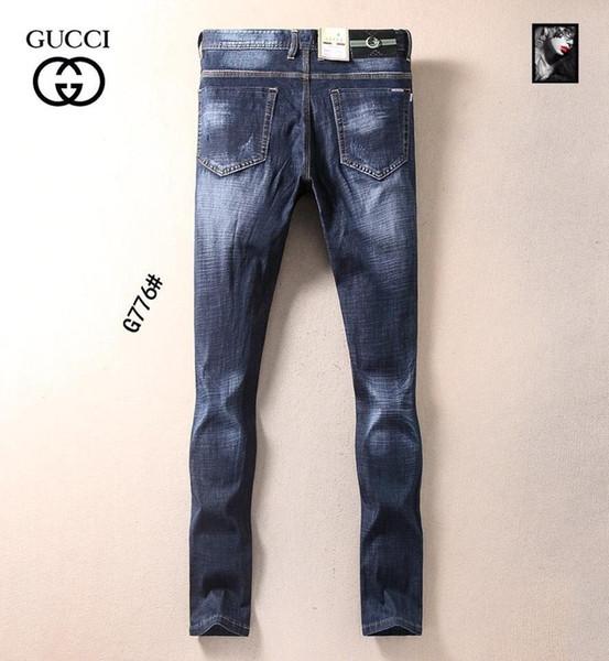 2019 Verão New Man Up Jeans Lavar Na Cintura Pequena Calças De Pé Em Linha Reta 12033