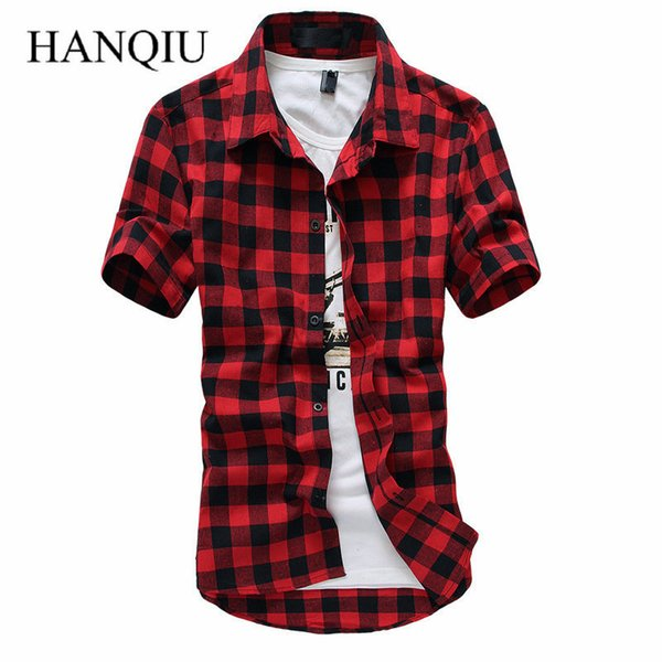 Red And Black Plaid 2019 New Summer Spring Fashion Chemise Homme Mens Dress Shirts Short Sleeve Shirt Men C19040302