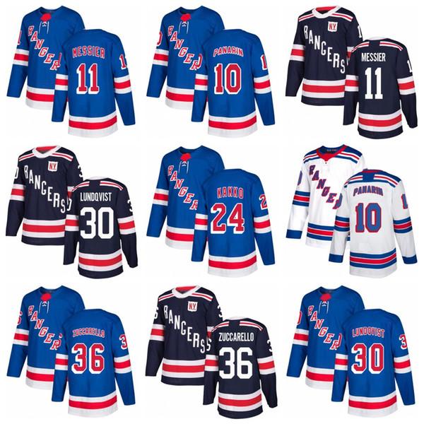Rangers Jersey 10 Artemi Panarin 24 Kaapo Kakko 11 Mark Messier 30 Henrik Lundqvist 36 Mats Zuccarello Inverno Classic Hockey maglie Stitch