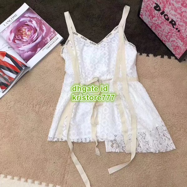 High End Women Sexy V-Neck Thin Sling Camisole Vest With Floral Lace Girls Tops Shirt Tee Brand Irregular Spaghetti Strap T-Shirt Dress