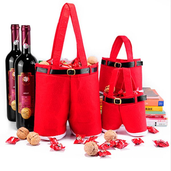 Santa Pants Candy Bag Rote Weihnachtsmannhose Geschenktüte Weihnachtshochzeit Candy Bags Weihnachtsflaschendekoration
