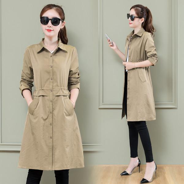 2019 Frühling Langarm dünne Windjacke Mantel Mode neue Hemd Trenchcoat weibliche dünne beliebte Jugendkleidung für Frauen