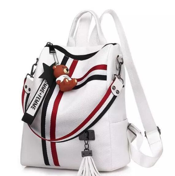 Mulheres mochila de couro saco de escola de moda estilo Coreano para a juventude sacos de couro Borla mochila frete grátis