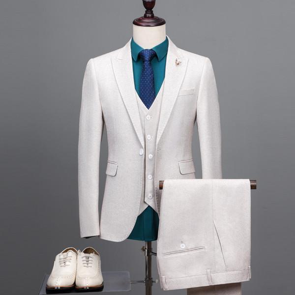 Chaquetas de verano hermosas de la boda 2019 One Button Slim Fit Groom Wear Diseñador Chaqueta de chaqueta para hombre (chaqueta + chaleco + pantalones)