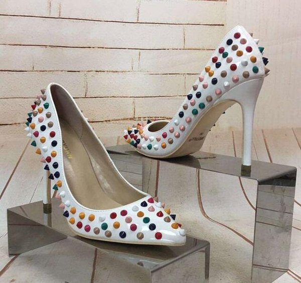 Studded shoes pointed high heels stiletto patent leather shallow mouth single shoes female white color nails 42 large size wedding shoes