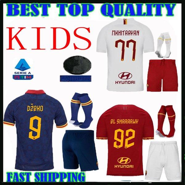 Roma Kids kit Jersey di calcio 19 20 Casa lontano terzo Bianco Blu 9 DZEKO 11 Kolarov 20 FAZIO 8 PEROTTI Boy Set 2019 2020 camicia di calcio bambino