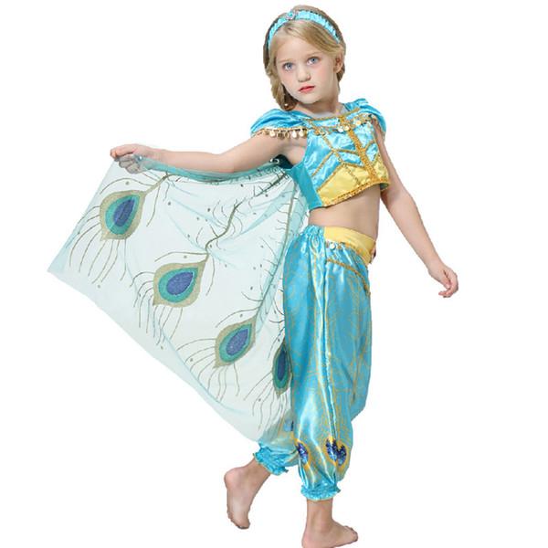 Aladdin niñas princesa de Cosplay de 3 piezas de ropa tapa del aparato de manga corta + Peacock extraíble capa de plumas + bloomers niños Fairy Tales árabes cos Princess