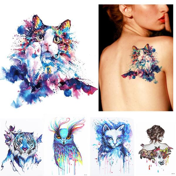 Neue 1 Stück Sommer Strand 3D Body Art Tattoo Bunte Tiere Wasserdichte Malerei Zeichnung Aufkleber