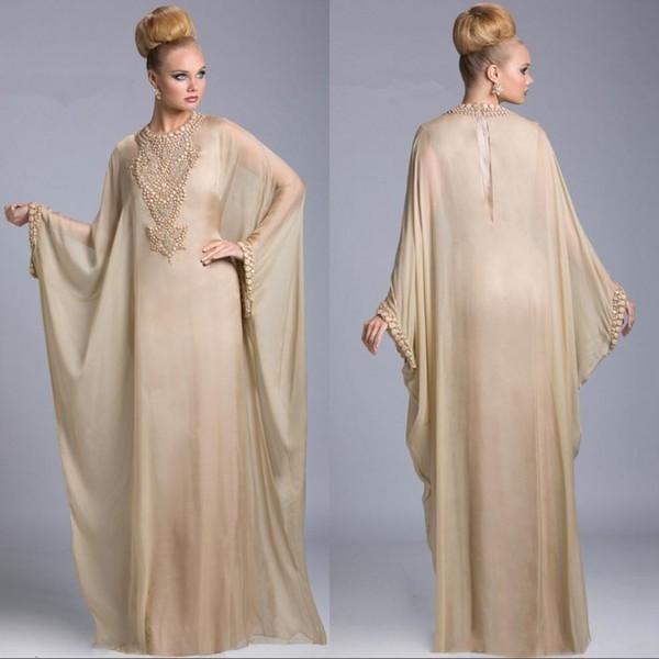 2019 champagner mutter der braut kleider abaya dubai islamische kaftan jewel neck kristall perlen lange ärmel abend hochzeitsgast kleider