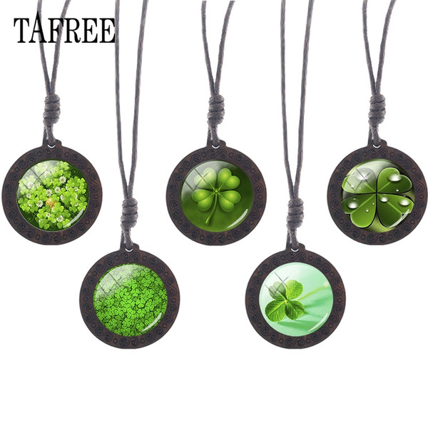 Lucky Clover Wooden Necklace Pendant rope chains Glass Cabochon Round vintage wood Choker gift for birthday party KC227