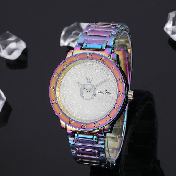Mesdames top marque quartz montre multicolore exquise en acier inoxydable montre lady Pandora luxe exquis cadeaux mode casual montre