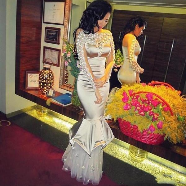 long arabic evening formal dresses 2018 mermaid prom dresses 2019 robes de soirée cocktail party dresses Long Sleeves Pleats