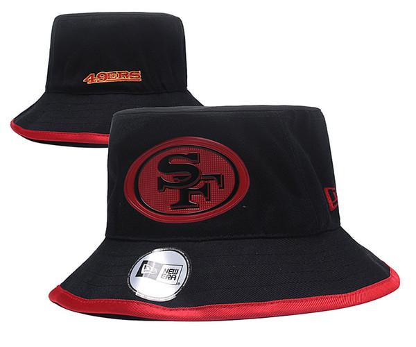 Men's SF 49ers Black Color Sport Outdoor Bucket Hats Team Logo Brands Fans Hip Hop Fishing Hat Cheap Sunhat Headwear Baseball Fisherman Caps