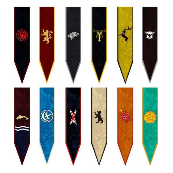 12 stilleri 30 * 147 cm Oyun thrones Bayrak Evi Stark Banner Kurt Turnuvası Açık Banner Bayrak Duvar Asılı ev partisi dekoru
