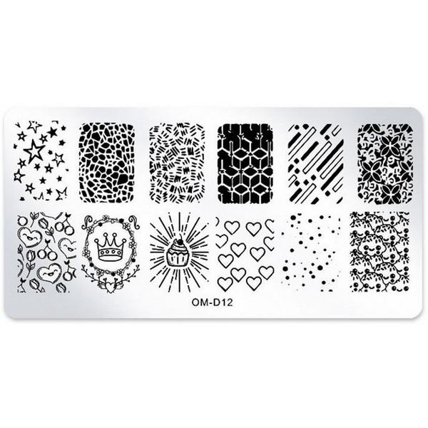 1 Pcs Nail Art Stamping Placas De Imagem Estrela Do Coração Da Coroa Prego Carimbar Placas Manicure Template Stencil Ferramentas de Arte OM-D12 #