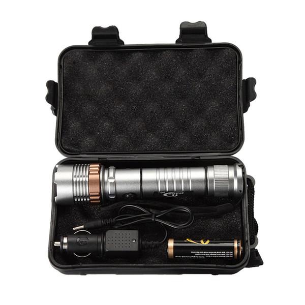 Ekaiou TAC-1 3800 Lumens Zoom Ajustável XM-L T6 LED 18650 Lanternas Tocha 1x18650 Bateria + Carregador Caixas De Presente