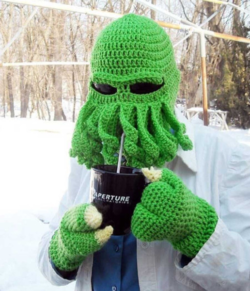 10 Colors Squid Octopus Cap Handmade Crochet Woolen Cap For Man And Kid Facekini Winter Hat Beanie / Skull Cap Funny Mask Halloween Party